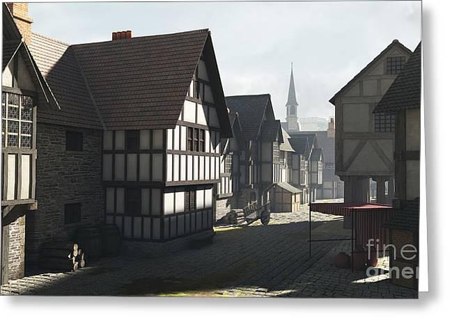 Mediaeval Town Street Greeting Card