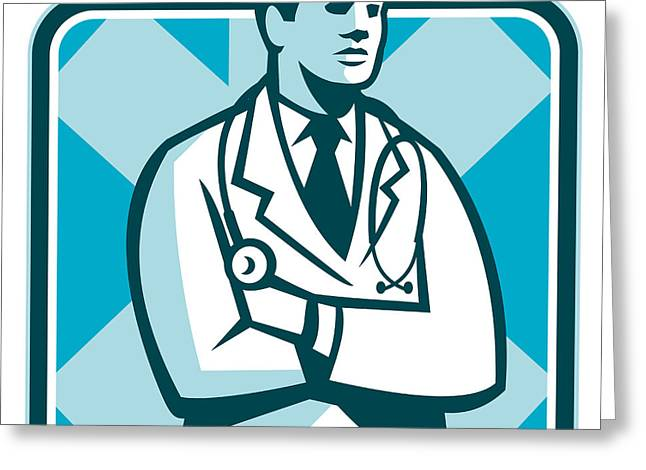 Medical Doctor Physician Stethoscope Standing Retro Greeting Card by Aloysius Patrimonio