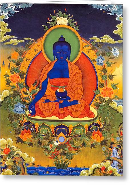 Medicine Buddha Greeting Card by Lanjee Chee