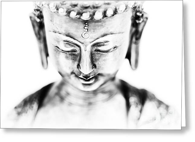Medicine Buddha Monochrome Greeting Card by Tim Gainey