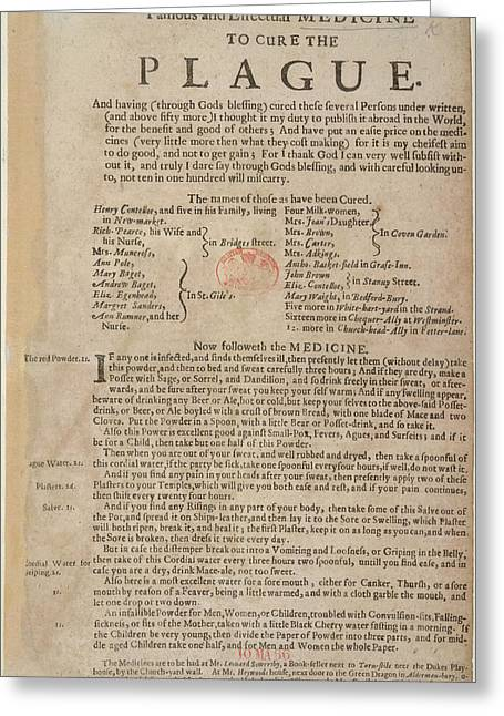 Medicine To Cure The Plague Greeting Card by British Library
