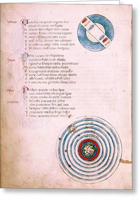Medieval Astronomical Charts Greeting Card by Renaissance And Medieval Manuscripts Collection/new York Public Library