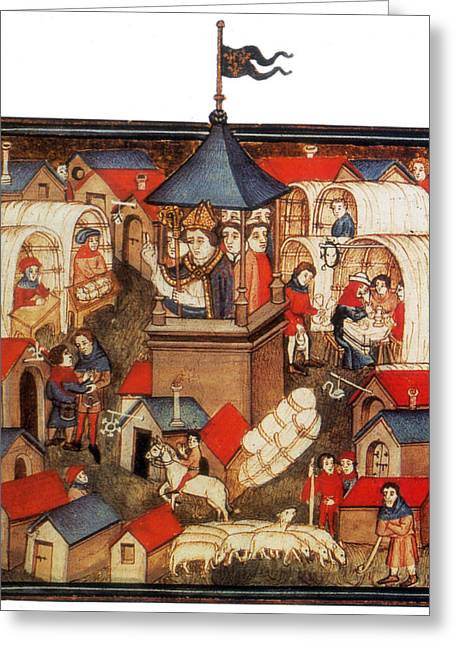 Medieval Benediction And Market Fair Greeting Card
