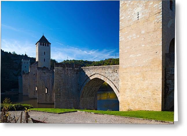 Medieval Bridge Across A River, Pont Greeting Card by Panoramic Images