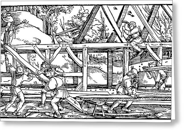 Medieval Builders Greeting Card by Science Photo Library