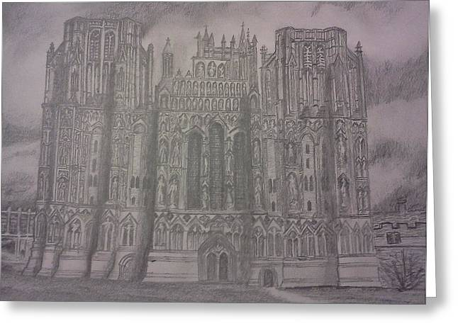 Greeting Card featuring the drawing Medieval Cathedral by Christy Saunders Church