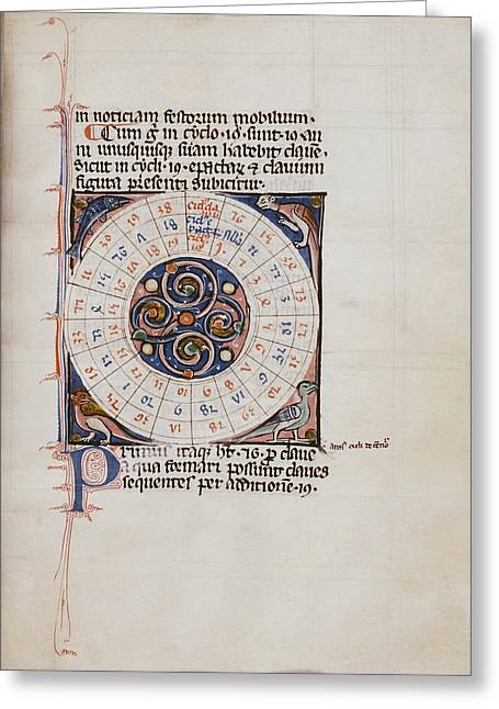 Medieval Chart Of The Decemnovenale Cycle Greeting Card