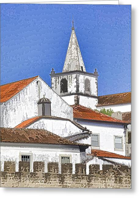 Medieval Church Along The Fortified Castle Wall Greeting Card by David Letts