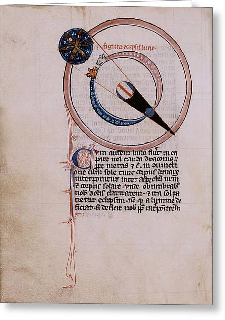 Medieval Depiction Of A Lunar Eclipse Greeting Card by Renaissance And Medieval Manuscripts Collection/new York Public Library