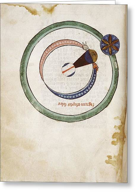 Medieval Depiction Of A Solar Eclipse Greeting Card by Renaissance And Medieval Manuscripts Collection/new York Public Library