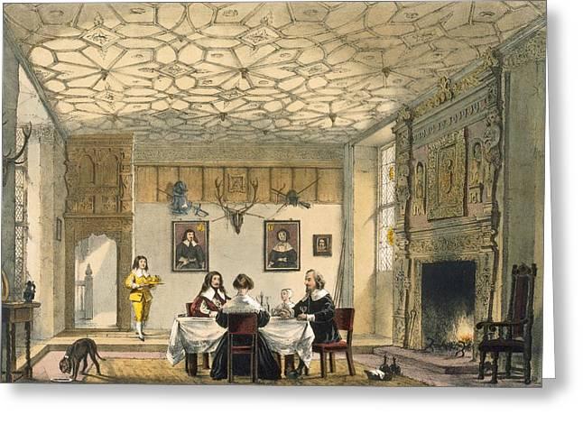 Medieval Family Supper, Wakehurst Greeting Card by Joseph Nash