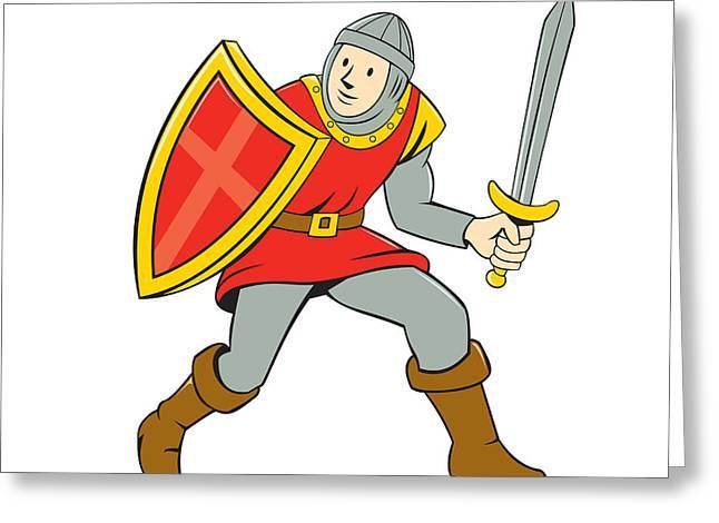 Medieval Knight Shield Sword Standing Cartoon Greeting Card by Aloysius Patrimonio