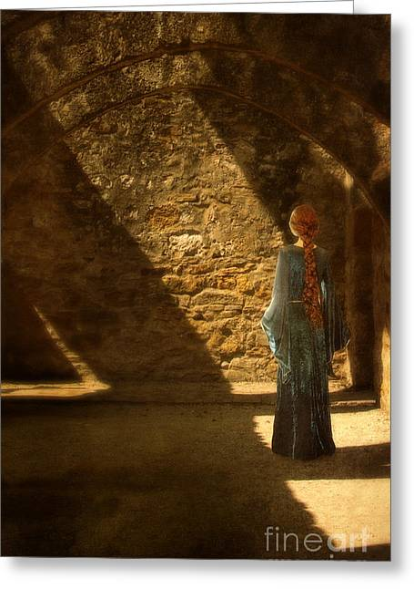 Medieval Lady In Stone Room Greeting Card by Jill Battaglia