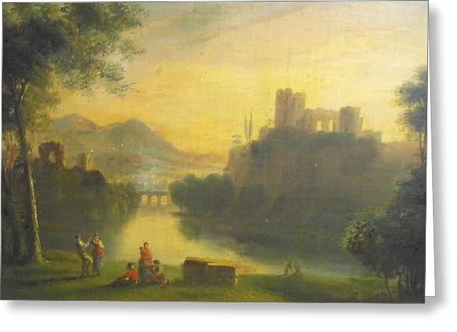 Medieval Landscape With People Greeting Card by Unknown