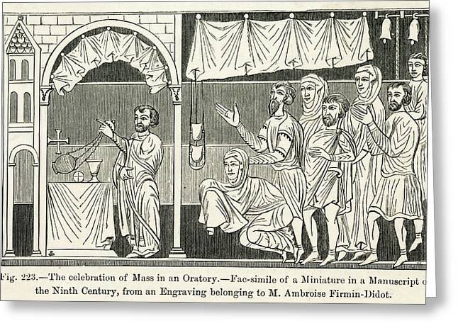 Medieval Mass The Celebration Of Mass Greeting Card by Mary Evans Picture Library
