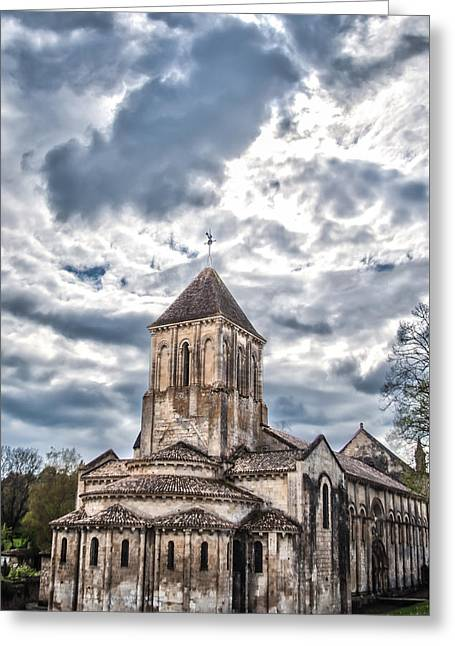 Medieval Monastery Under Swirling Clouds Greeting Card by Nila Newsom