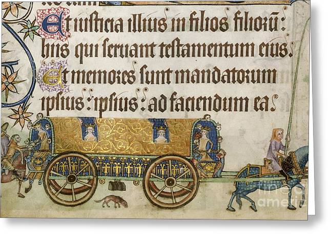 Medieval Royal Coach, Luttrell Psalter Greeting Card by British Library