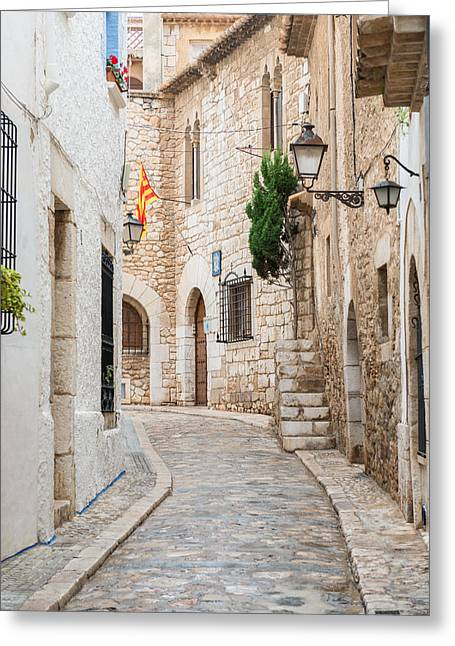 Medieval Street In Sitges Old Town Spain Greeting Card