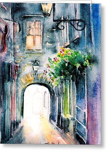 The Butter Slip  Medieval Street Kilkenny I Greeting Card by Trudi Doyle