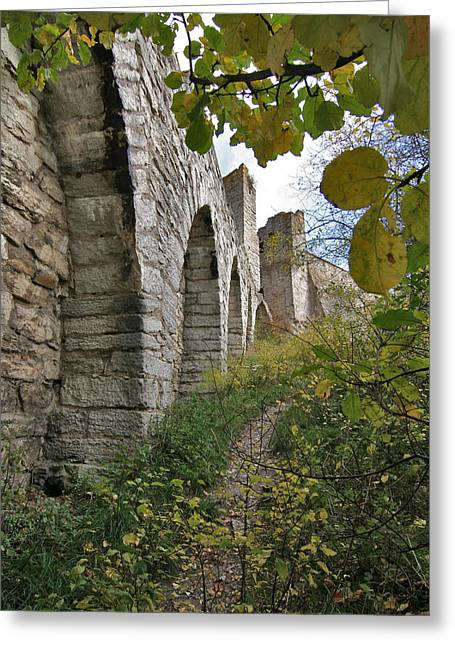 Medieval Town Wall Greeting Card