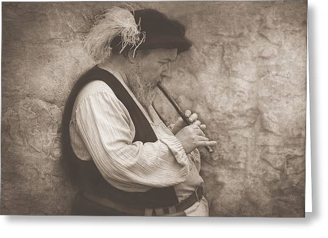 Medieval Flute Player Greeting Card by Pat Abbott