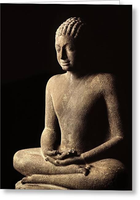 Meditating Buddha, Davaravati Period Greeting Card