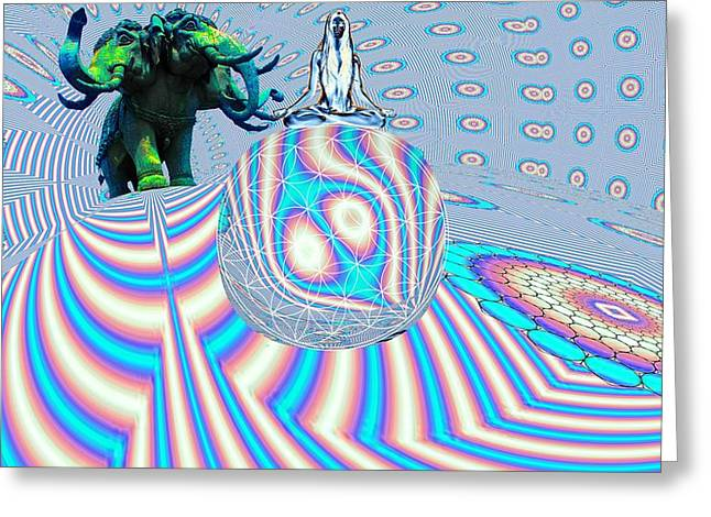 Meditating On Ganesh Greeting Card by Jason Saunders