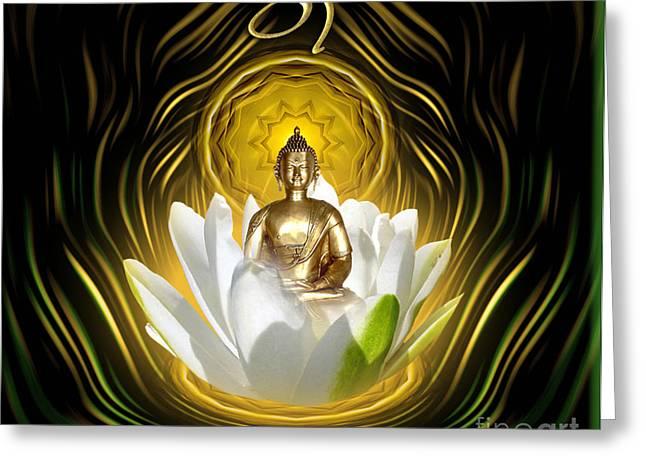 Meditating With Buddha Greeting Card by Giada Rossi