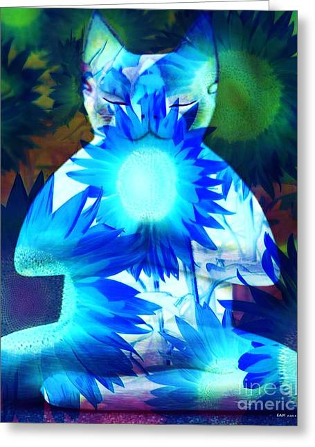 Meditation Kitty / Midnight Meditations On The Blue Sunflower Greeting Card by Elizabeth McTaggart