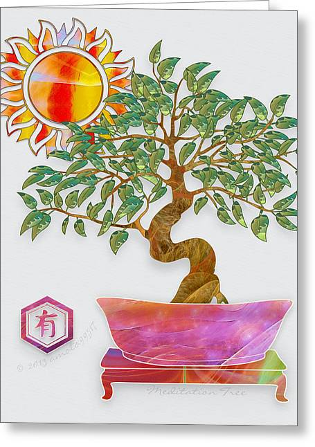 Meditation Tree Greeting Card by Gayle Odsather