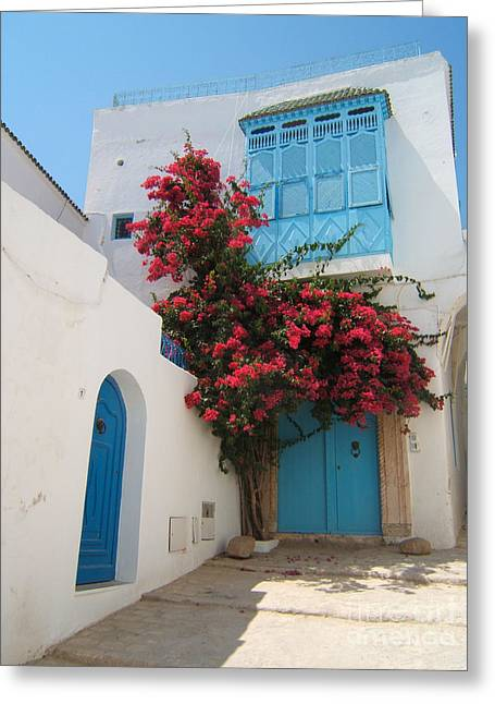 Mediterranean House Greeting Card by Eszter Kovacs