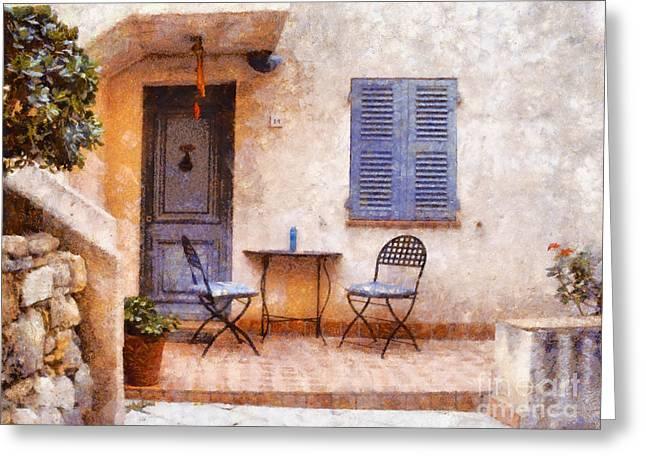 Mediterranean House Greeting Card by Pixel  Chimp