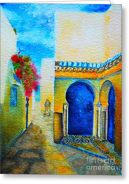 Greeting Card featuring the painting Mediterranean Medina by Ana Maria Edulescu
