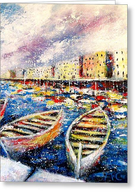 Mediterranean Port Colours Greeting Card