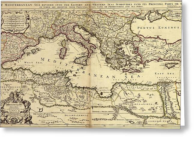 Mediterranean Sea Greeting Card by Library Of Congress, Geography And Map Division