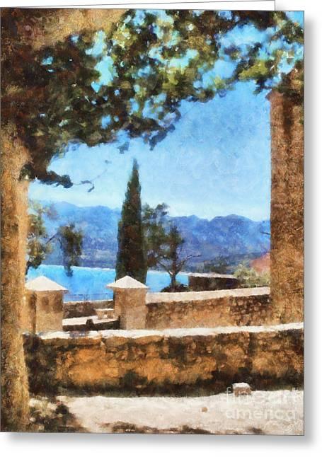 Mediterranean Sea View Greeting Card by Pixel Chimp