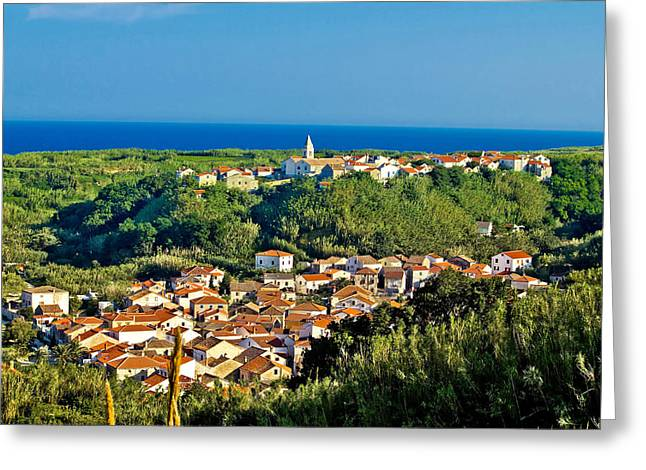 Mediterranean Town Of Susak Croatia Greeting Card
