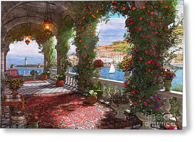 Mediterranean Veranda Greeting Card by Dominic Davison