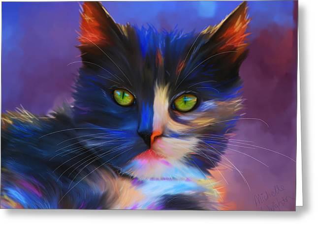 Meesha Colorful Cat Portrait Greeting Card