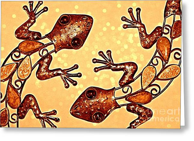 Meet The Geckos Greeting Card by Clare Bevan