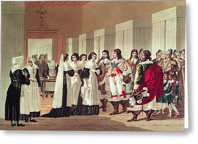 Meeting Between Louis Xiii 1601-43 And Marie-louise Motier De La Fayette 1615-65 At Lhotel-dieu Greeting Card by Hippolyte Lecomte