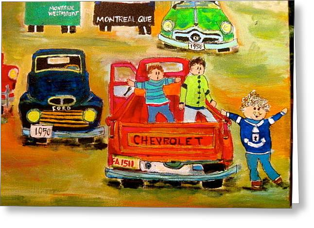Meeting Of The Cars Greeting Card by Michael Litvack