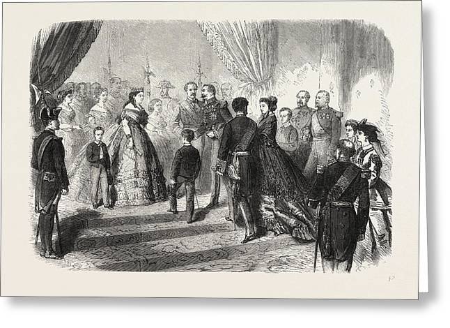 Meeting Of The French And Spanish Royal Families Greeting Card by English School
