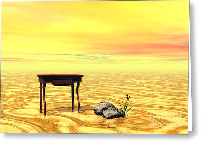 Meeting On Plain - Surrealism Greeting Card by Sipo Liimatainen