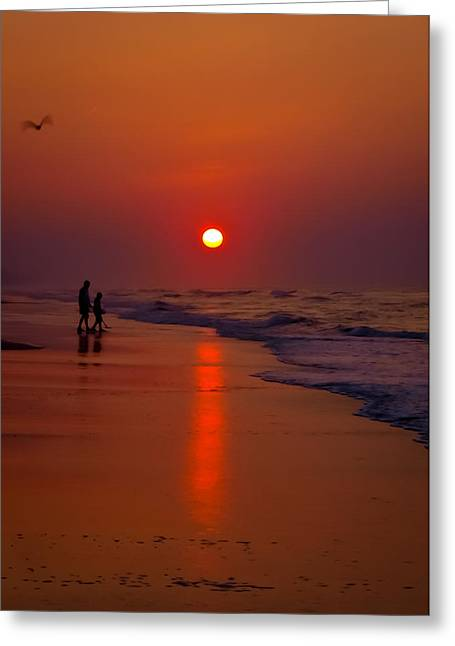 Meeting The Waves Greeting Card by Ron Plasencia