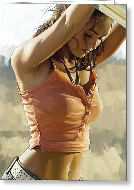Megan Fox Artwork Greeting Card by Sheraz A
