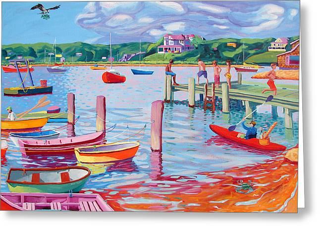 Megansett Dock With Osprey Greeting Card by Sean Boyce