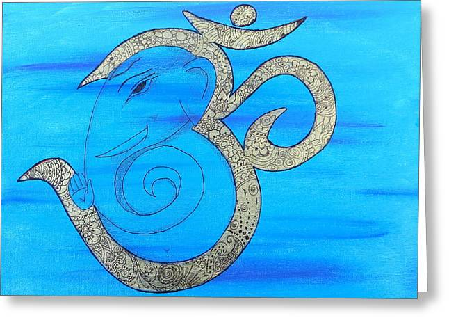 Mehndi Ganesh In Ohm  Greeting Card