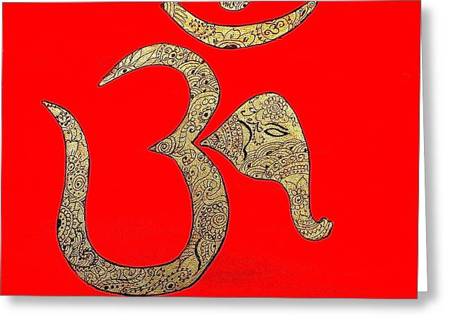 Mehndi Ganesh Ohm Greeting Card
