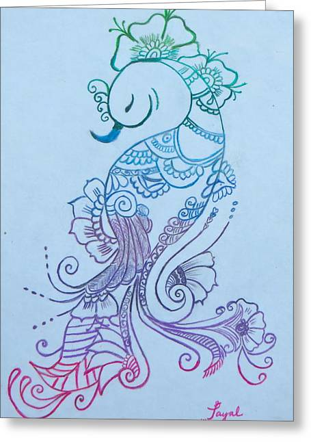 Mehndi Peacock Greeting Card